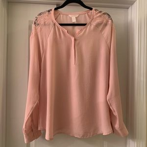 Joe Fresh pink long sleeve blouse with lace detail